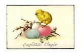 Künstler Frohe Ostern, Küken Auf Ostereiern Giclee Print
