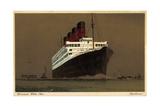 Cunard White Star Line, Steamer Aquitana, Biplane Giclee Print