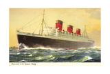 Künstler Cunard Line, R.M.S. Queen Mary, Huge Steamer Giclee Print