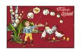 Präge Glückwunsch Ostern, Maiglöckchen, Henne, Küken Impression giclée