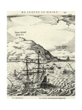 Engraving from the Journal of Jacob Le Maire Depicting the Arrival at the Cocos Islands, Tonga Giclee Print