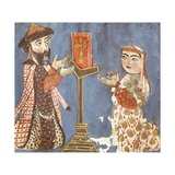 Garabet and Esugan Offer a Manuscript of the Gospel, Illuminated Page, Armenia Giclee Print