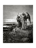 Jacob Wrestling with the Angel. Engraving. Giclee Print