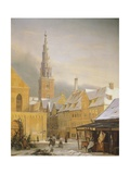 Denmark, Copenaghen, Dronningensgade in Winter by Niels Bredal, 1860 Giclee Print
