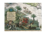 Map of Martinique Created by Matthieu Seutter, Details: Merchants and Native American Indian Giclee Print