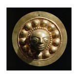 Ecuador, Pre-Columbian Civilization, Goldsmithery ,Golden Disc with Face in Relief Giclee Print