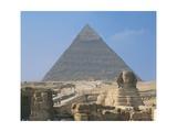 Egypt, Giza, Great Sphinx and Pyramid of Khufu Giclee Print