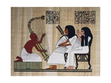 Egyptian Papyrus Depicting Husband and Wife at Blind Harpist Performance Giclee Print
