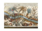 Fresco Depicting River Landscape, from Akrotiri, Thera Island, Santorini, Greece, Detail Giclee Print