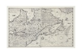 Map of Canada from Survey by Samuel De Champlain, 1632 Giclee Print