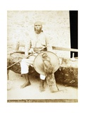 Eritrea, Otmulo, Portrait of Chief Barambaras Kafel Photographed with Shield and Spear Giclee Print