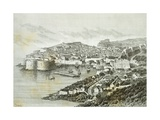 View of Ragusa, Modern Day Dubrovnik from the Universal Geography by Elisee Reclus, Croatia Giclee Print