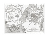 Map of Athens and Piraeus, Greece, Mid 19th Century from the Imperial Bible Dictionary Giclee Print