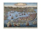 Spain, Cadiz, City and Port, Engraving Giclee Print