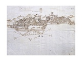 View of Lisbon, 1596, Portugal 16th Century Drawing Giclee Print