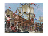 The Ship Victoria in Seville, Engraving, 1807 Giclee Print