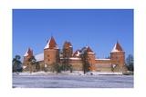 Lithuania, Trakai, Frozen Lake Galve and Castle Giclée-tryk