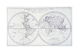 Voyage of Robinson Crusoe, from 18th Century Map of World Giclee Print