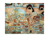 Reconstruction of the Wall Painting of the Temple of the Jaguars at Chichen Itza, Mexico Giclee Print