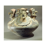Amphora Decorated with Three Human Heads Originating from Bahia, Ecuador Giclee Print