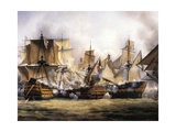 Clash Between English Temeraire and French Redoubtable Ships During Battle of Trafalgar Giclee Print