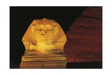 Great Sphinx and Chefren Pyramid Behind at Night Giclée-tryk