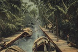Barges on a Canal in Sri Lanka Photographic Print