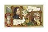 Frederic Chopin and Ludwig Van Beethoven Giclee Print by  European School