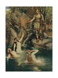 The Three Maidens Swam Close to the Shore Giclee Print by Ferdinand Lecke