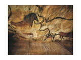 France, Reconstruction of Bull Rock Paintings of Lascaux Caves Giclee Print