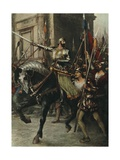 At the Head of a Large Body of Men Rode Rienzi Giclee Print by Ferdinand Lecke