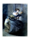 A Mother Fleeing with Two Children Giclee Print by Jean-François Millet