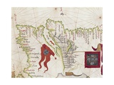Lisbon and Tagus River Estuary from Atlas by Diego Homen, 1563 Giclee Print