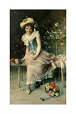 Beauty on a Garden Bench, 1897 Giclee Print by Francesco Vinea