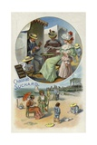 Enjoying Suchard Chocolate at the Beach Giclee Print