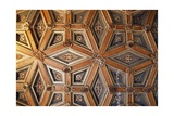 Coffered Wooden Ceiling in Golden Hall, Lapalisse Castle, Auvergne, Detail, France, 16th Century Giclee Print