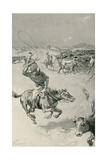 Cattle-Mustering in Queensland Giclee Print by Joseph Finnemore