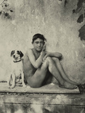 Study of a Nude Boy with Dog, C.1901 Photographic Print by Wilhelm Von Gloeden