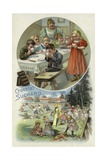 Children Enjoying Suchard Chocolate at a Nursery Giclee Print