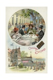 Enjoying Suchard Chocolate Outdoors Giclee Print