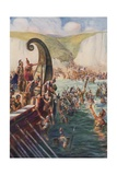 The Landing of the Romans in Britain, 54 Bc Giclee Print by Joseph Ratcliffe Skelton