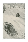 A Tobogganing-Slope in Canada Giclee Print by Walter Stanley Paget