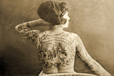 Portrait of a Tattooed Woman, C.1895 Photographic Print