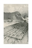 A Lumber Raft Being Towed Down the St. Lawrence Giclee Print by Joseph Finnemore