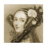 Sepia Portrait of Augusta Ada King Giclee Print by Alfred-edward Chalon