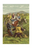 Don Quixote, Sancho and the Country Girls Giclee Print by Sir John Gilbert