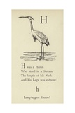 The Letter H Giclee Print by Edward Lear