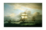 Man of War in Choppy Seas, 1809 Giclee Print by Thomas Luny