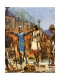 Fitzstephen Burns His Boats, 1169 Giclee Print by Richard Caton Woodville II