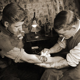 Vintage Shot of a Man Being Tattooed Photographic Print
